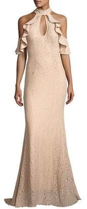 Jovani Cold-Shoulder Embellished Lace Evening Gown, Champagne $595 thestylecure.com