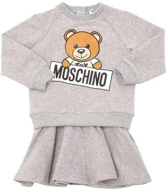 Moschino Logo Printed Cotton Sweatshirt Dress