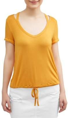 No Boundaries Juniors' caged shoulder drawstring waist short sleeve t-shirt