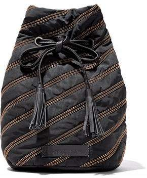 Brunello Cucinelli Leather-Trimmed Bead-Embellished Shell Bucket Bag