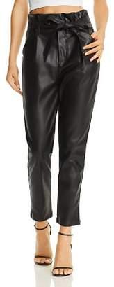 Lucy Paris Faux Leather Paperbag-Waist Pants