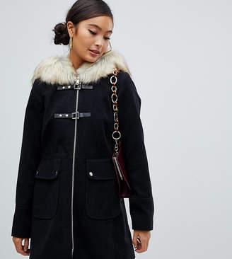 Miss Selfridge duffle coat with faux fur trim hood in black