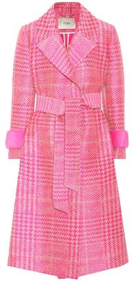 Fendi Mink-trimmed wool-blend coat