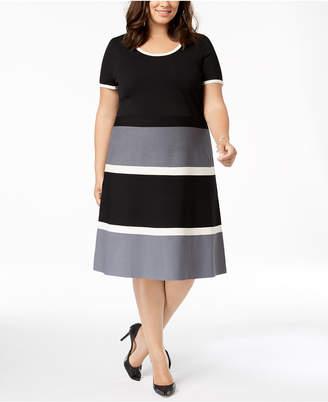 980d44d3308 Anne Klein Plus Size Colorblocked Fit   Flare Dress