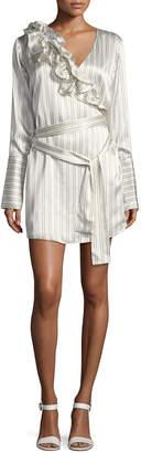 Maggie Marilyn Silk Somewhere Striped Satin Shirtdress w/ Ruffled Frills