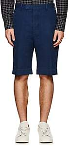 Officine Generale MEN'S LINEN-COTTON CUFFED SHORTS-DK. BLUE SIZE 48 EU