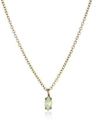 Kris Nations Swarovski Crystal Green Opal Dulce Chiquito Navette Gold Necklace