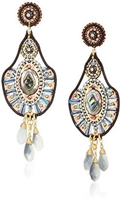 Miguel Ases Rainbow Hydro-Quartz and Shell Triple Dangle Leather Enclosed Chandelier Drop Earrings