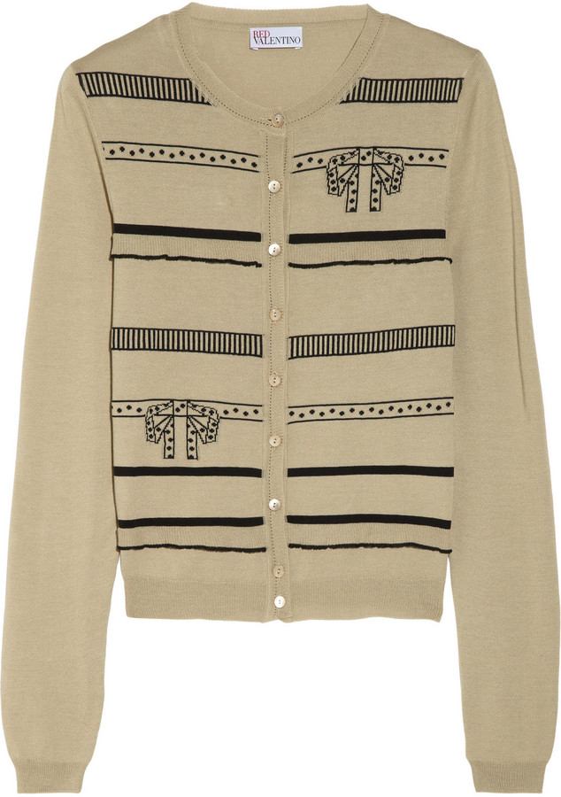 RED Valentino Bow-intarsia cotton-blend cardigan