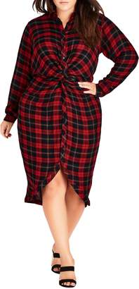 City Chic Twister Shirtdress