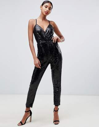 bb1f3cb0cfe TFNC sequin cami jumpsuit in black