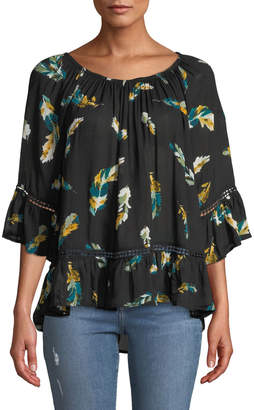 Neiman Marcus 3/4-Sleeve Feather-Print Blouse