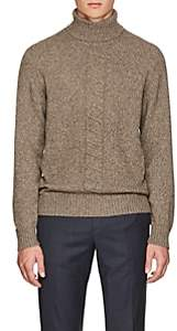 Luciano Barbera Men's Cable-Knit Turtleneck Sweater-Beige, Tan
