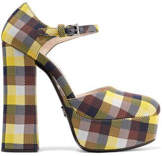 Prada Checked Canvas Platform Pumps - Yellow