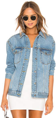 Free People Studded Denim Trucker Jacket.