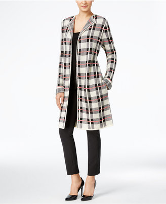 NY Collection Plaid Maxi Cardigan $60 thestylecure.com