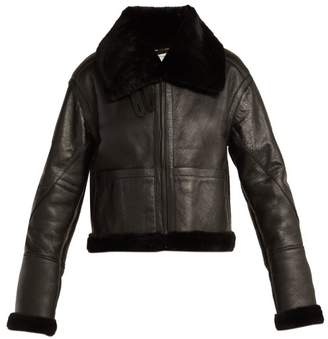Saint Laurent Aviator Leather And Shearling Jacket - Womens - Black