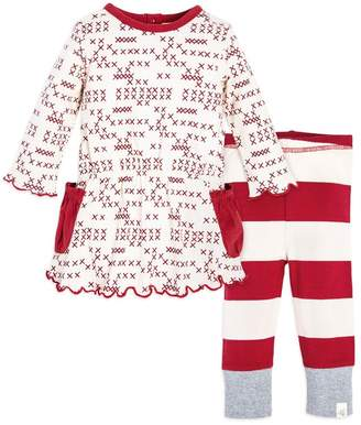 Burt's Bees Cross Stitched Organic Baby Girls Dress & Legging Set