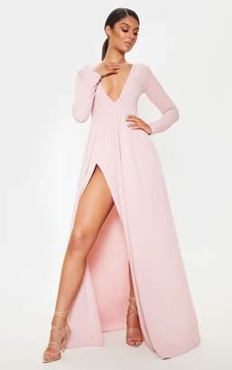 PrettyLittleThing Dusty Pink Long Sleeve Plunge Maxi Dress