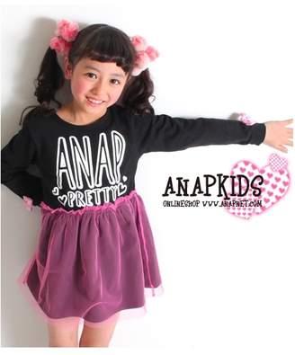 ANAP (アナップ) - ANAP KIDS 袖リボン重ねチュールスカートワンピース ブラック