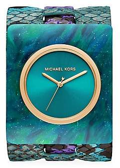 Michael Kors Women's Willa Marbled Acetate & Python-Embossed Leather Strap Watch