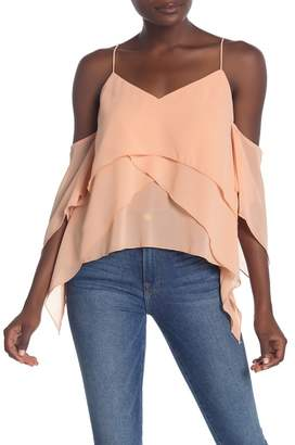 Fanco Tiered Chiffon Cold Shoulder Top