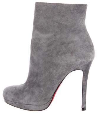Christian Louboutin Christian Louboutin Suede Round-Toe Ankle Boots