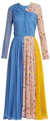 Carolina Herrera V Neck Terazzo Print Silk Dress - Womens - Blue Multi