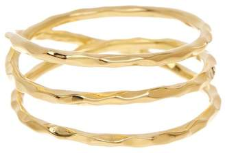 Sterling Forever 14K Gold Plated Sterling Silver Hammered Triple Band Ring