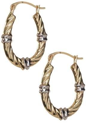 KARAT RUSH 10K Yellow & White Gold Polished 20.4mm Wavy Hoop Earrings