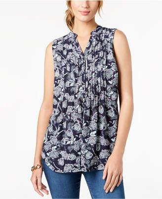 Charter Club Sleeveless Pleated Printed Shirt, Created for Macy's