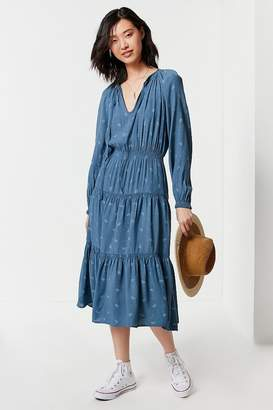 Urban Outfitters Reese Tiered Smocked Midi Dress