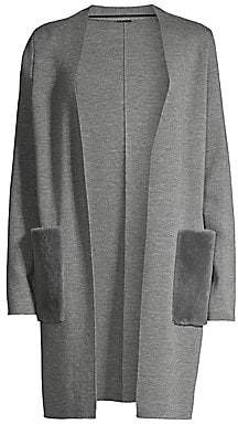 Elie Tahari Women's Amora Rabbit Fur Pocket & Merino Wool Long Cardigan