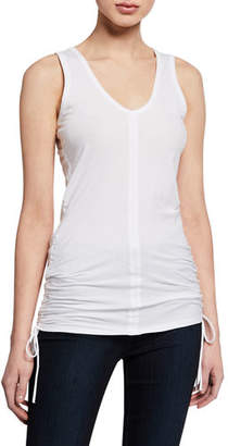 Neiman Marcus Majestic Paris for Scoop-Neck Stretch-Cotton Tank w/ Side-Ruching