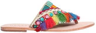 Manebi 10mm Fringed Rainbow Leather Sandals