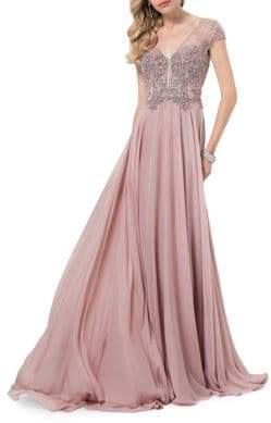 Terani Couture Glamour by Mesh Top Floor-Length Gown