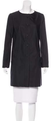 Prada Collarless Wool-Blend Coat