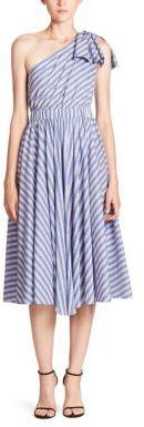 MILLY Anna Cotton & Silk One-Shoulder Dress $595 thestylecure.com