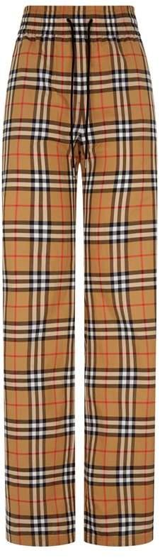 Vintage Check Wide Leg Trousers