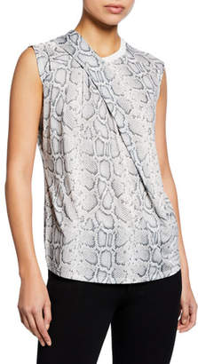 Elie Tahari Kourtney Knit Snake-Print Crewneck Sleeveless Top