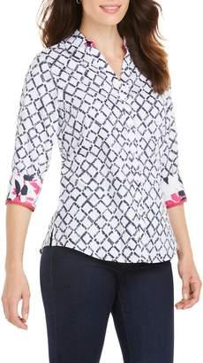 Foxcroft Mary Diamond Lattice Wrinkle Free Shirt