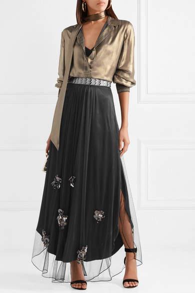 By Malene Birger Beverlyh Embellished Tulle Maxi Skirt - Black