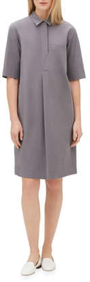 Lafayette 148 New York Casper Elbow-Sleeve Shirtdress with Chain Trim