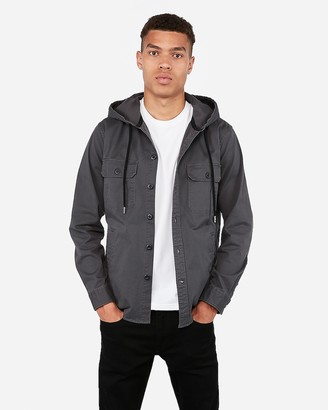 Express Slim Hooded Twill Shirt Jacket