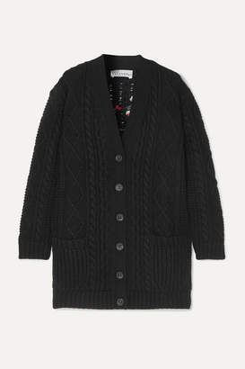 RED Valentino Embroidered Cable-knit Wool Cardigan - Black