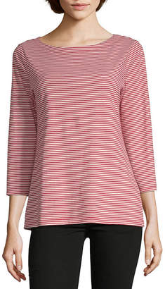 Liz Claiborne Simply-Womens Boat Neck 3/4 Sleeve T-Shirt