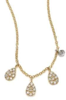 Meira T Diamond& 14K Yellow Gold Pear Charm Necklace