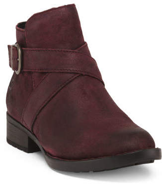 Buckle Leather Ankle Booties
