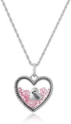 """Sterling Silver Light Floating Crystals """"Love"""" Heart Charm Pendant Necklace"""
