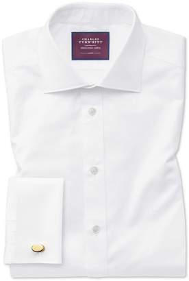 Charles Tyrwhitt Extra Slim Fit White Luxury Twill Egyptian Cotton Dress Shirt French Cuff Size 14.5/33